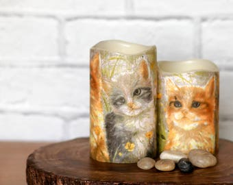 Cat Lover Flameless Candle Gift Set, Ginger Cat LED Candle Gift, Orange Cat Print Candle Gift, Pillar Candles with Ginger Cat Print