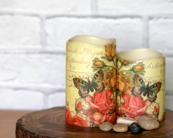 Butterfly Pillar Candle Gift Set, LED Flameless Butterfly Candle, Butterfly Candle Gift, Butterfly Home Decor Gift, Mothers Birthday Gift
