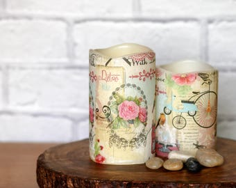 Anniversary Gift Decorative Candle Set, With Love Retro LED Candle, Anniversary Gift for Girlfriend, Retro Home Decor, Pillar Candle Gift