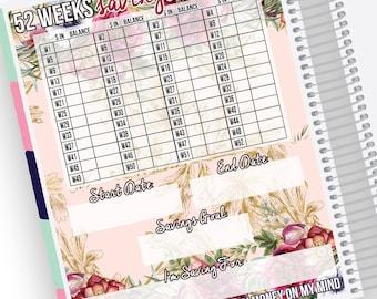 52 Wochen Einsparungen Tracker Notizen Seite Kit - Sticker