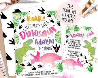 Dinosaur Invitations, Dinosaur party, Dinosaur invite, Dinosaur birthday invitation, pink Dinosaur, girl birthday, printable invitation