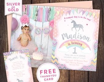Unicorn Invitation Party First Birthday Glitter Invite Baby Girl Dreamcatcher 1st Pink