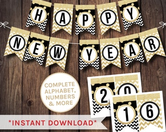 new year banner black and white banner alphabet banner 2016 banner printable banner black white banner party bunting party banner