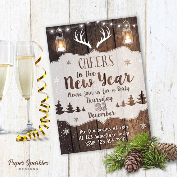 Rustic New Years Eve Invitation