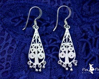 Vintage Silver Filigree Teardrop Dangle Hook Earrings