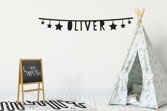 name bunting wall decals kids room wall stickers name   etsy