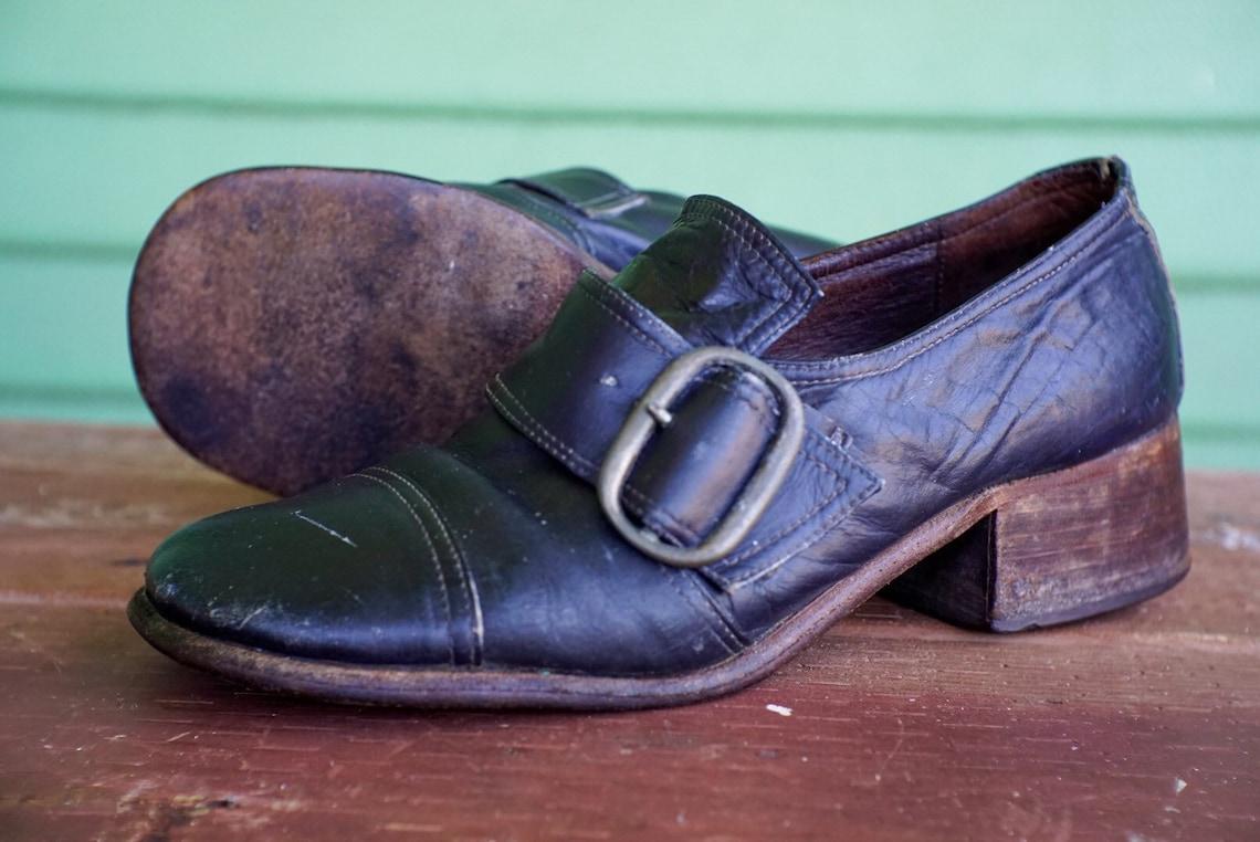 50s 60s Mid-Century cuero genuino Brogues Square dedo del pie hebilla Oxfords mocasines madera victoriana bajo tacón negro ajustable hecho a mano chunky 5.5