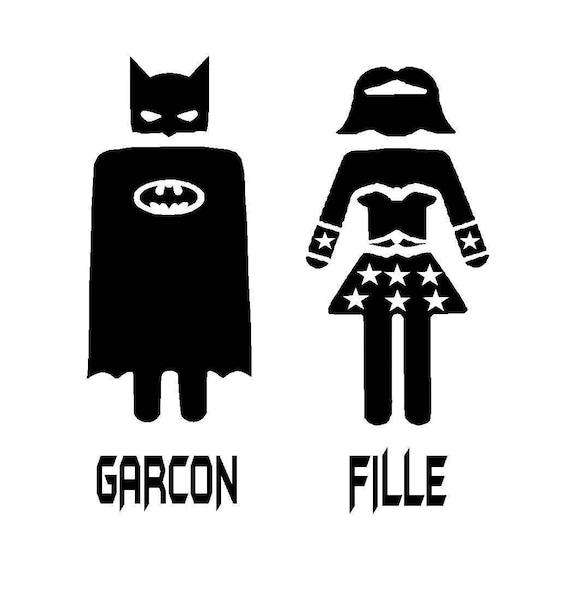 Garcon and Fille Superhero Batman & Wonder Woman Bathroom Door | Etsy
