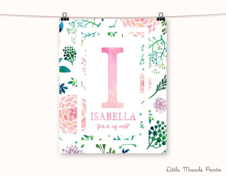 Isabella Watercolor Fine Art Paper Baby Name Art Monogram Etsy