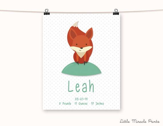 Leah Fox Fine Art Paper Baby Name Baby Poster Name Print ...