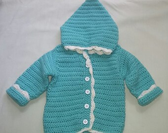 Infant girls hooded sweater crochet handmade