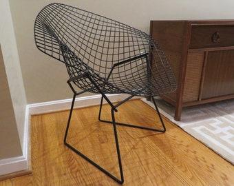 Sold: Pair Of Authentic Knoll Bertoia Diamond Chairs With Original Pads  60u0027s Midcentury