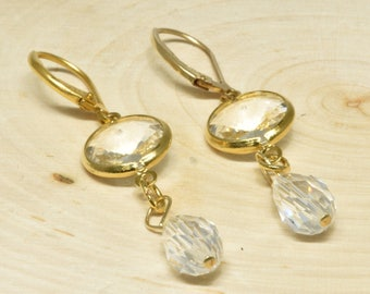 Vintage Bezel Set Dangle Earrings