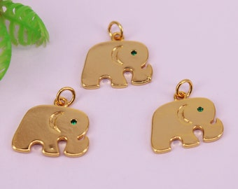 HOT 30Pcs 13x18mm Gold plated Elephant shape Copper Metal Green eye CZ beads connector pendant  bracelet necklaceEarring,Jewelry Findings