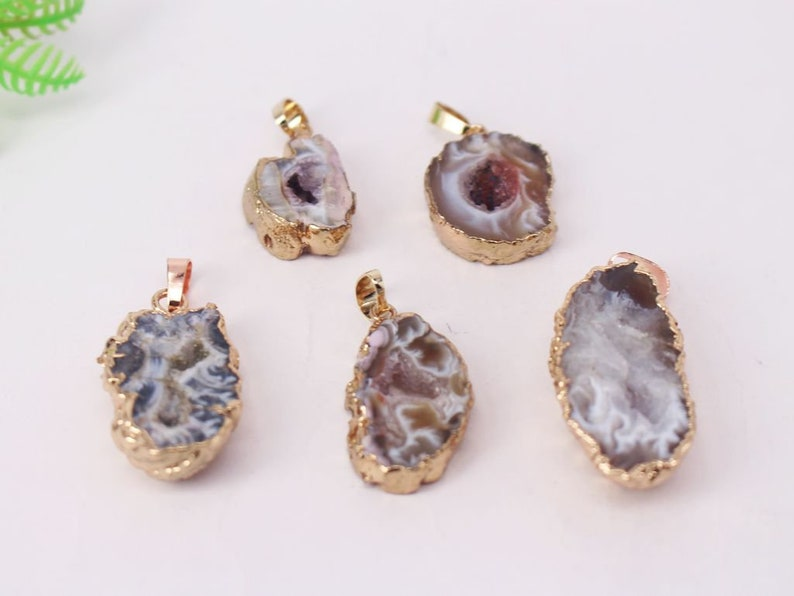5-10pcs Rose Gold plated Stripe color Round Agate Druzy Geode pendant beads Jewelry findings Drusy Crystal Gem stone Connector Necklace