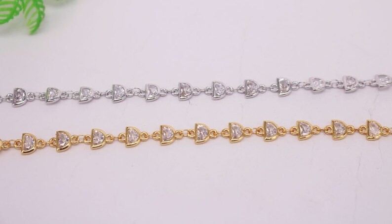 Chain Jewelry Making Supply for DIY HOT 1 Meter 5x7mm-6x8mm Semicircle beads Cubic Zirconia Brass Chain Mixed plated Bulk Chain By Foot