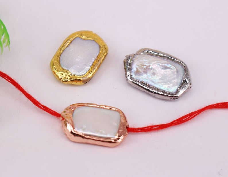 HOT 10--15Pcs Mixed plated Rectangle Shape Natural White pearl bead Connector beads,connect Pendantnecklacebracelet Jewelry Findings