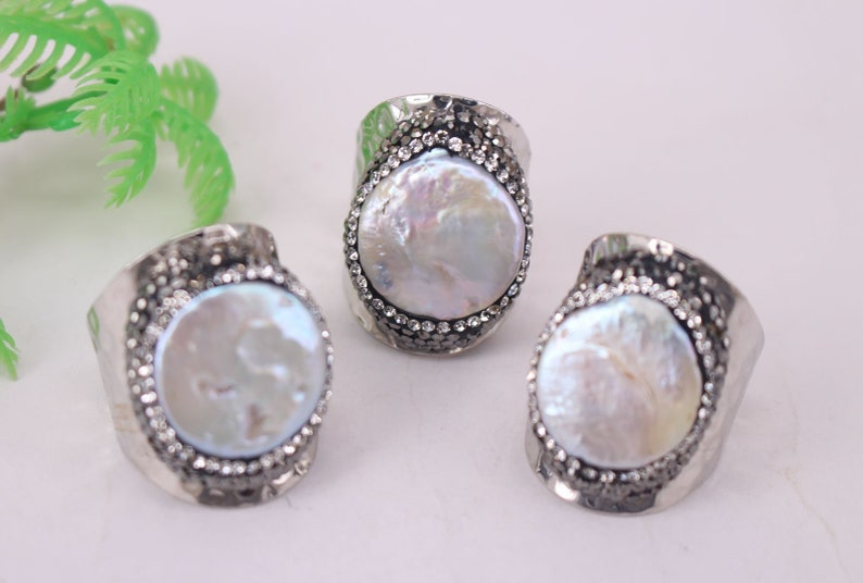 Charm Gemstone Ring Jewelry findings HOT 5pcs Silver plated Round shape Natural Titanium Pearl Druzy Ring,Crystal Cuff Ring