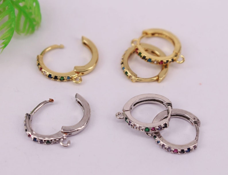 Jewelry Findings HOT 10pair 14mm Gold and Silver plated Copper Metal Multicolor CZ Zircon beads connector pendant  Earrings  necklace
