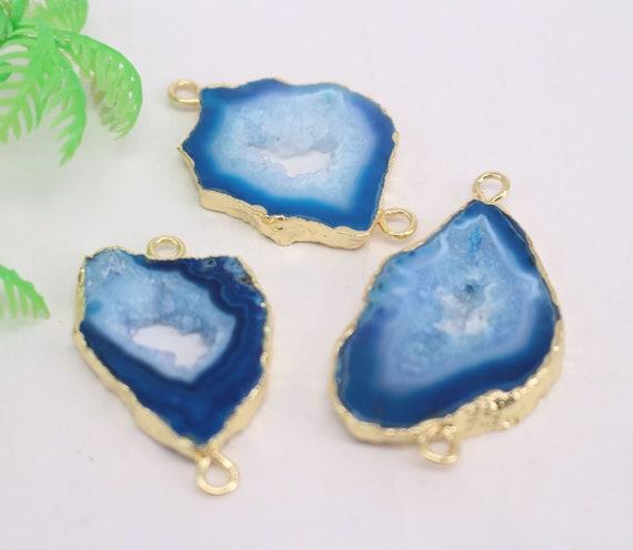 HOT 5-10pcs Gold plated Blue color Nature Agate Druzy Geode connector beads Drusy Crystal Gem stone Pendant Jewelry findings