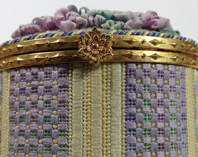 Monet's Garden Oval Box Needlepoint Complete Kit
