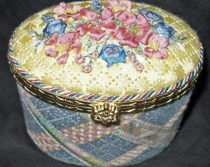 Wild Roses Oval Box Needlepoint Basic Kit