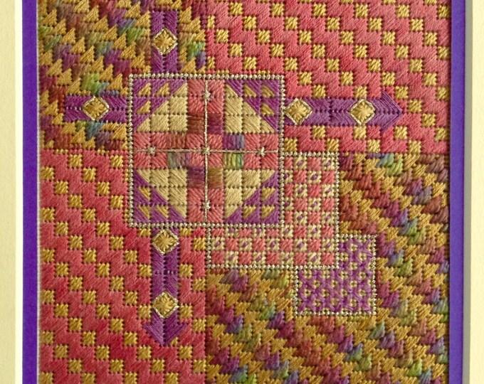 Autumn Arrows Geometric Design Needlepoint Complete Kit