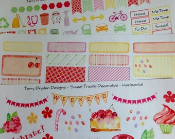 Sweet Treats Weekly Planner Stickers for Erin Condren, IWP and other horizontal planners