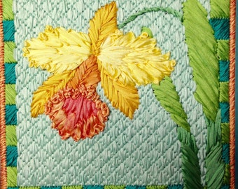 Orchid Silk Flower Needlepoint Complete Kit - 3rd in this Silk Flower Series