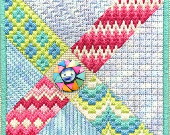 Bargello Button Needlepoint Basic Kit