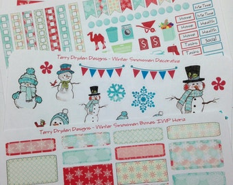 Winter Snowflakes & Snowmen Weekly Planner Stickers for Inkwell Press both horizontal and vertical planners