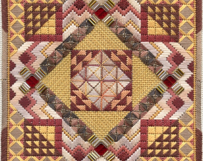Tiebele Nights Earthtones Geometric Needlepoint Complete Kit