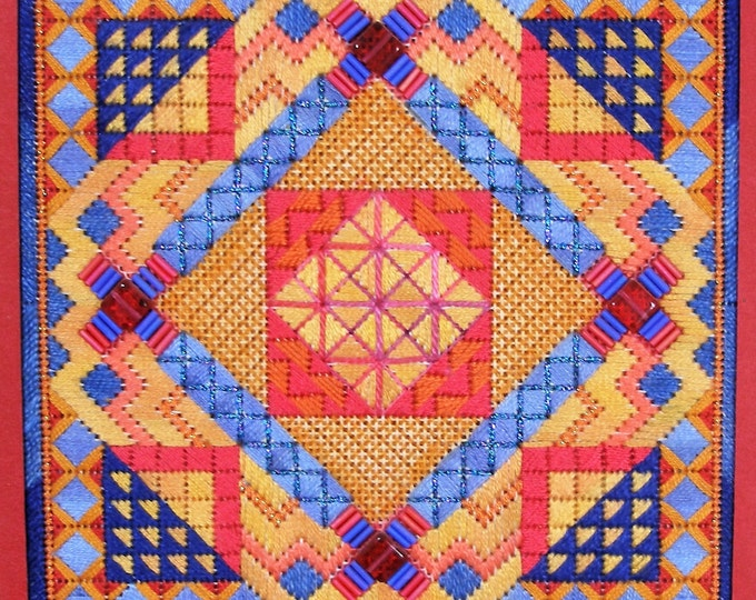 Tiebele Nights Original Colorway Geometric Needlepoint  Complete Kit