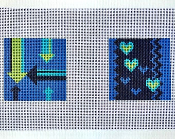 Hearts and Arrows Needlepoint Canvas Coaster Kits
