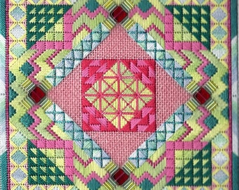 Tiebele Nights SPRING Geometric Needlepoint Complete Kit