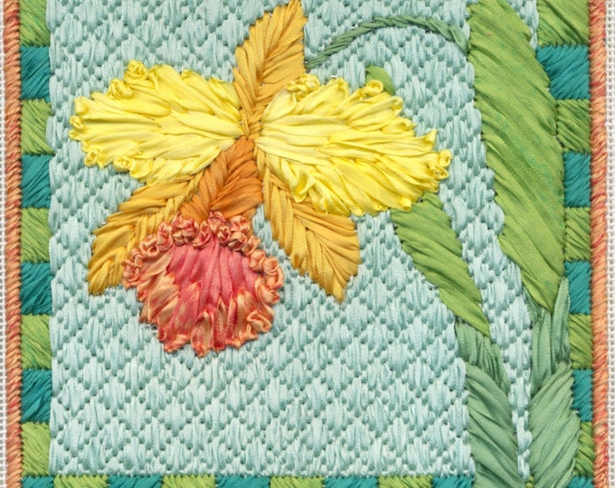 Orchid Silk Ribbon Needlepoint Basic Kit - 3rd in this Silk Flower Series