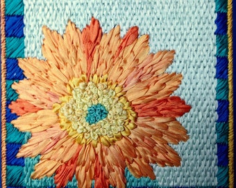 Gerbera Daisy Silk Flower Needlepoint Complete Kit - 1st in this Silk Flower Series