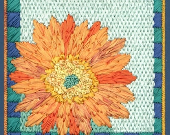 Gerbera Daisy Silk Ribbon Needlepoint Basic Kit - 1st in this Silk Flower Series