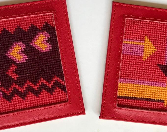 Hearts and Arrows Needlepoint Canvas Coaster Kits