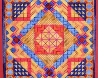 Tiebele Nights Original Colorway Geometric Needlepoint  Complete Kit