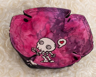 Valentine Embroidered Chibi Muertos, Love Skeleton, on Fuchsia/Purple, Katch-All Small Octo