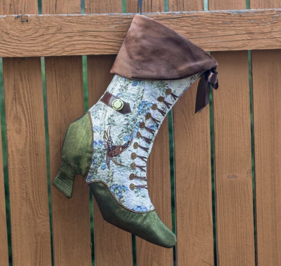 Victorian Steampunk Sparrow Christmas Stocking