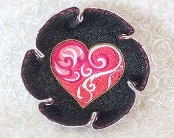 Valentine Embroidered Baroque Red/Fuchsia Heart Katch-All Large Flower Hex