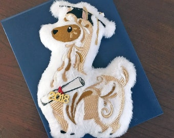 Graduation Llama Embroidered Plush Ornament / Keychain