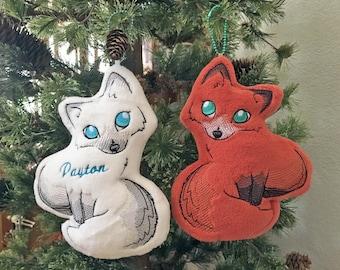 Arctic Fox, Sweet Fox Ornament/Keychain, Customizable