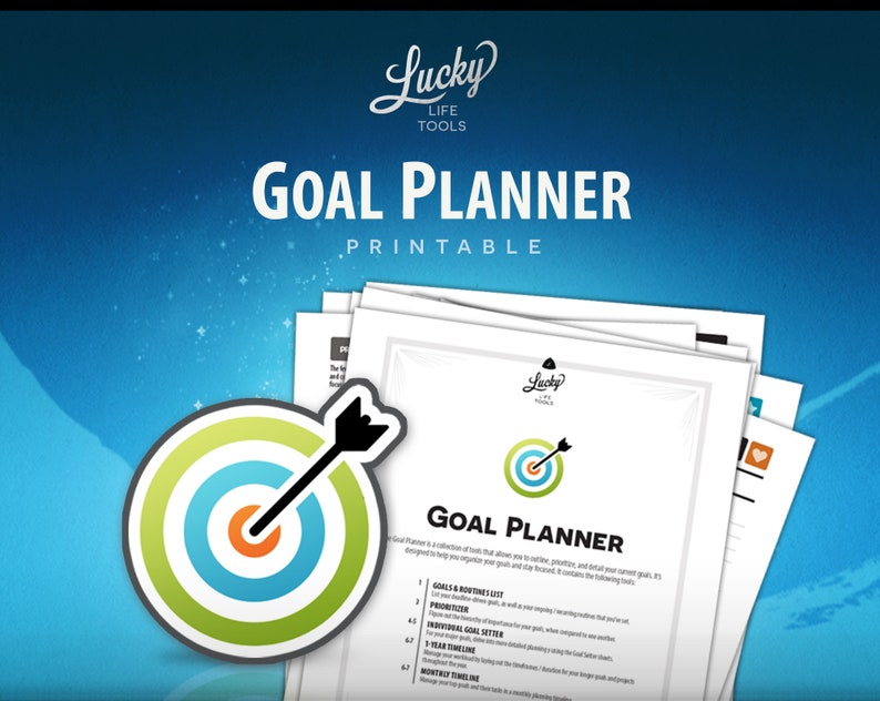 Goal Planner Printable PDF  by LUCKY Life Tools Goal Setting image 0