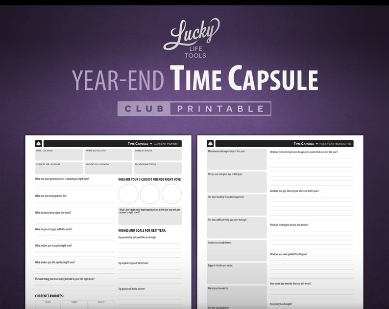 Year-end Time Capsule 2-page CLUB pdf printable 8.5 x 11 image 0