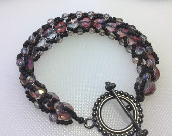 Flat Spiral Czech faceted crystal amethyst pink cuff bracelet with black toggle