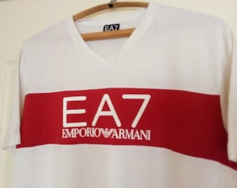 3fde0af92d3 Vintage Emporio Armani white tee shirt EA7 t shirt Italian Designer Luxury  tee LOGO Fashion athletic top