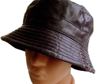 Vintage purple bucket hat Fisherman hat Patent vinyl Hip-hop Hat two-sided  hat Hipster Sun hat Red tartan hat 90s faux Leather bucket hat dbc27713b4e2